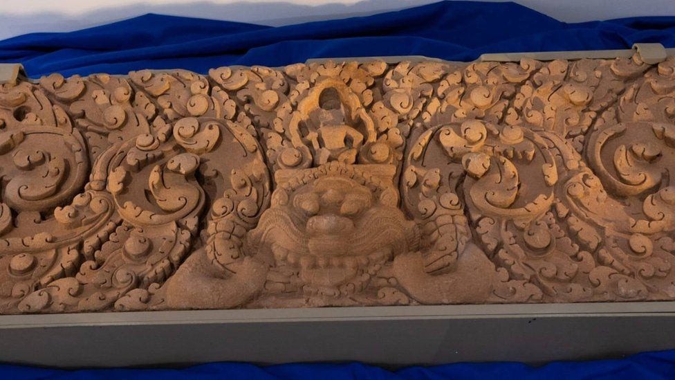 A hand carved lintel