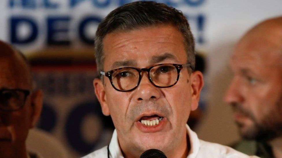 Gerardo Blyde, representative of the Venezuelan coalition of opposition parties (MUD), talks to the media during a news conference at their headquarters in Caracas, Venezuela October 15, 2017.