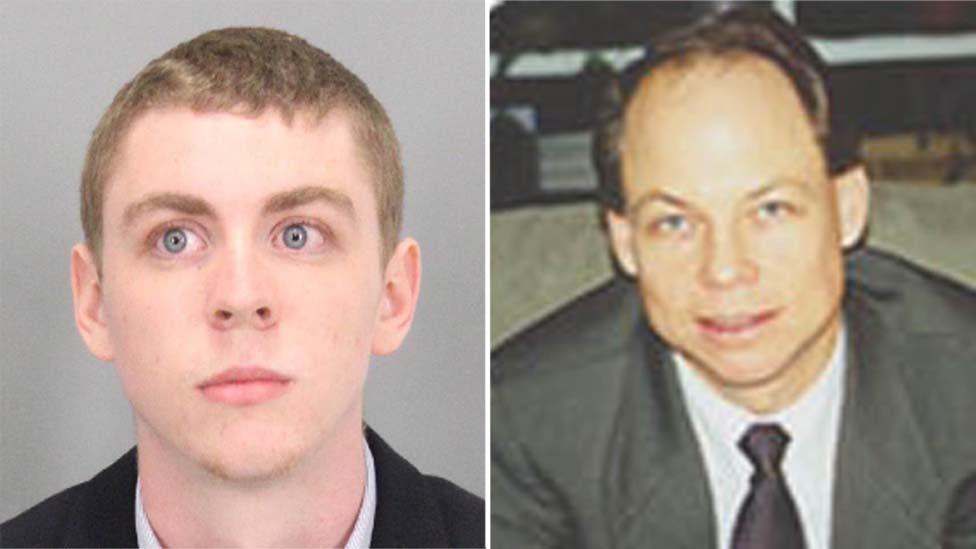 Brock Turner (left) was sentenced by Judge Aaron Persky (right)
