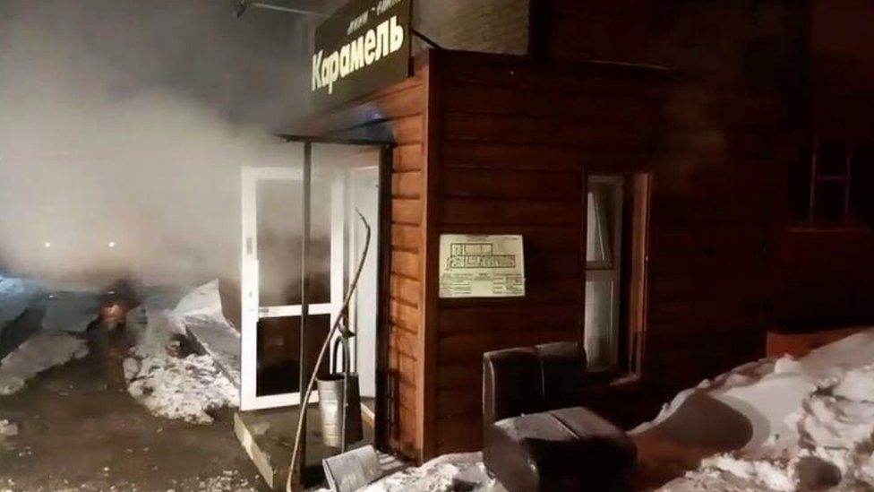 Flooded mini-hotel Caramel in Perm, Russia. Photo: 20 January 2020