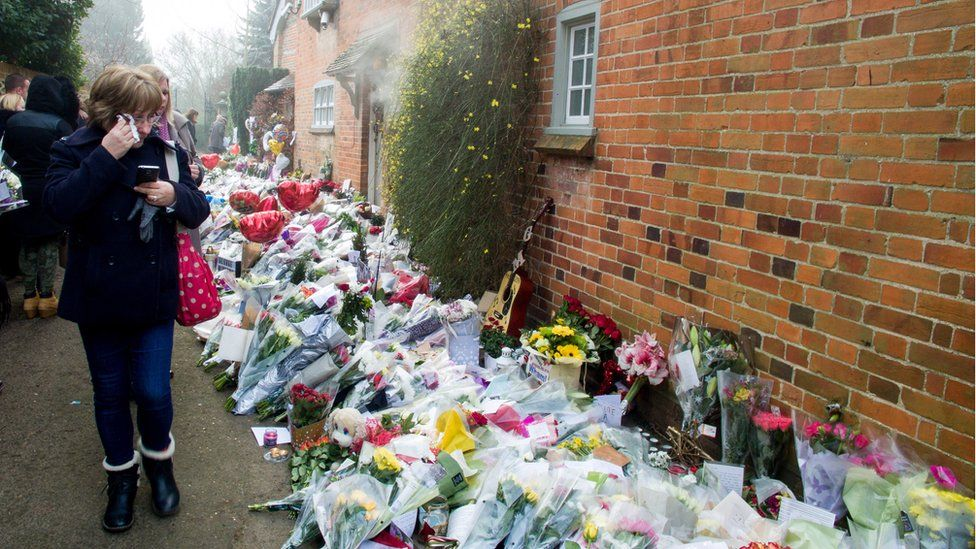 Flowers outside George Michael's home