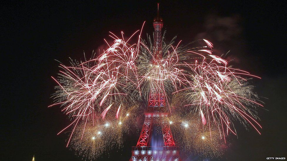 Bastille day celebrations on Eiffel Tower