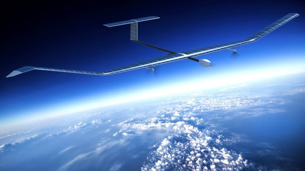 Illustration of the Zephyr S, a long, thin, lightweight drone