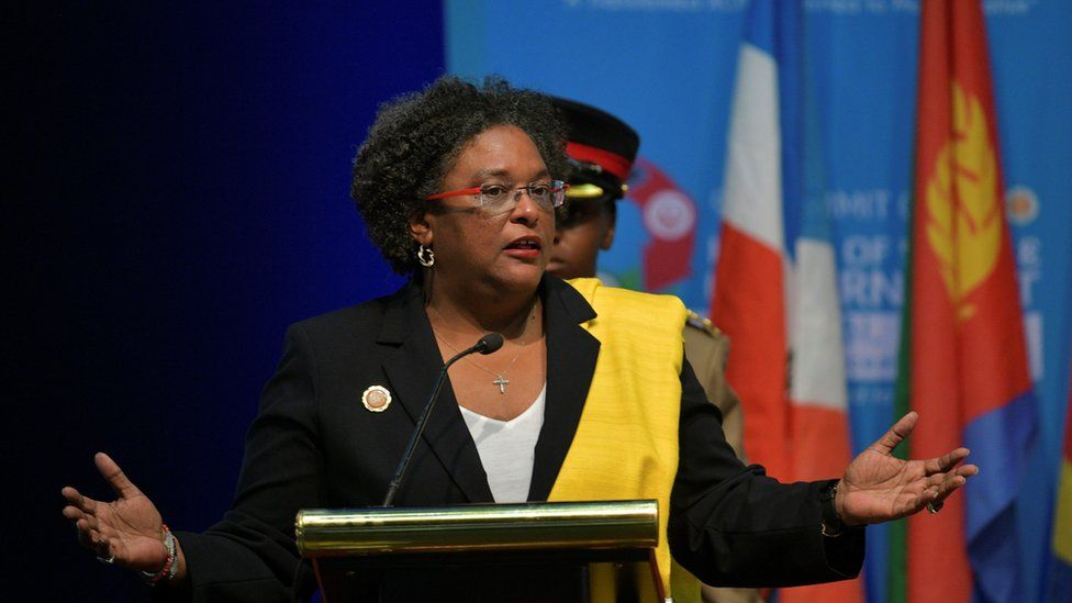 Prime Minister of Barbados Mia Mottley gives an address on December 9, 2019, during an ACP summit in Nairobi