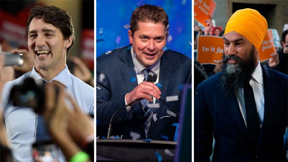 From left: Justin Trudeau, Andrew Scheer and Jagmeet Singh