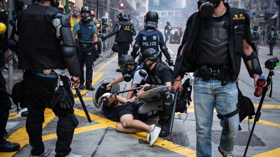 A protester was arrested in Wan Chai on October 1, 2019