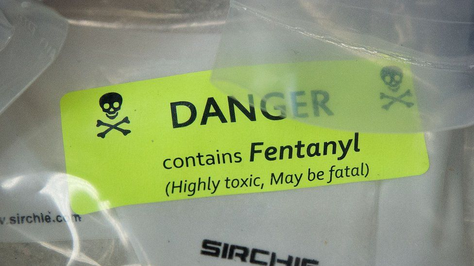 A warning sticker on a bag of fentanyl seized in New York City.