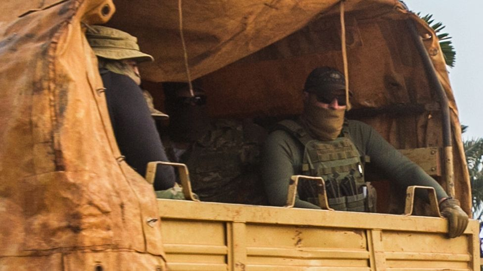 Russian troops seen in a military vehicle in the Central African Republic - January 2021