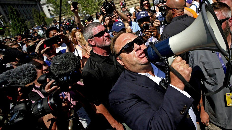 US radio host Alex Jones speaking to crowds outside the 2016 Republican National Convention in Cleveland, Ohio