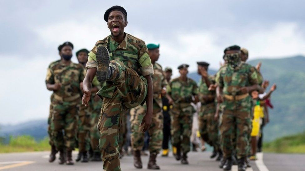 Military veterans show support to South Africa's former President Jacob Zuma as they parade in front of his house, in Nkandla, South Africa February 15, 2021
