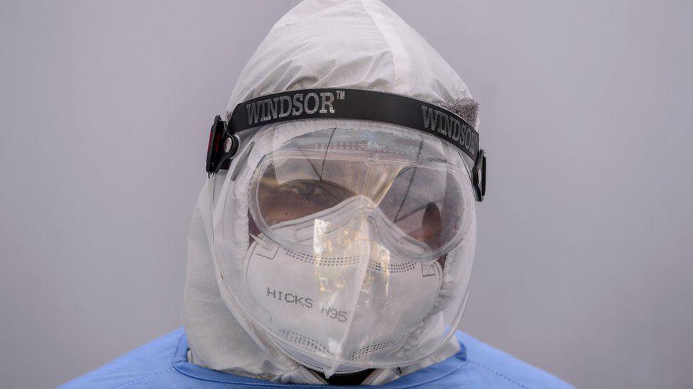 A man wearing PPE kits