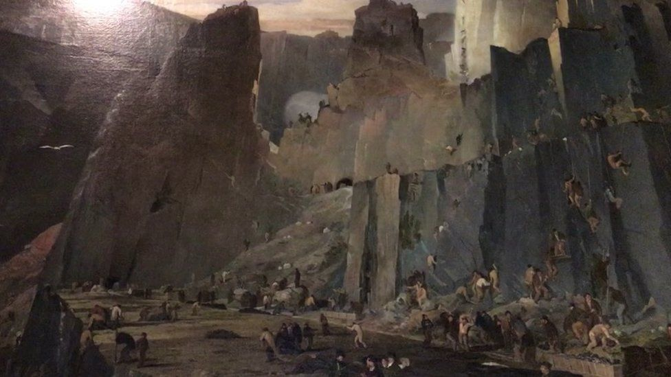 Penrhyn Quarry painting that hangs in the castle