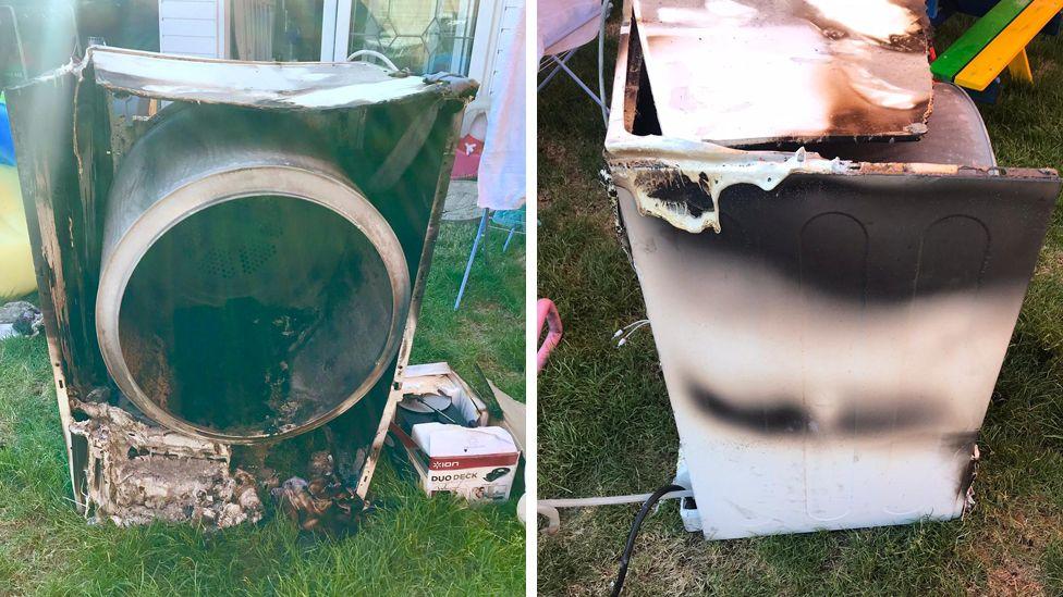 Mark Studley's fire-damaged Whirlpool dryer