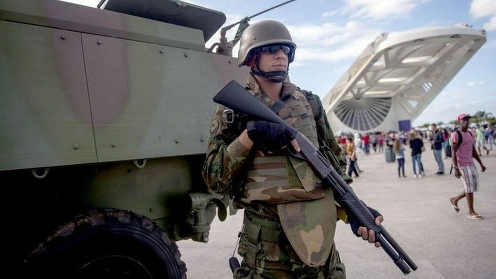 Brazilian marines with armoured personnel carriers (APC) stand guard at the Museum of Tomorrow area in the Portuary Zone of Rio de Janeiro, Brazil, on July 29, 2017.