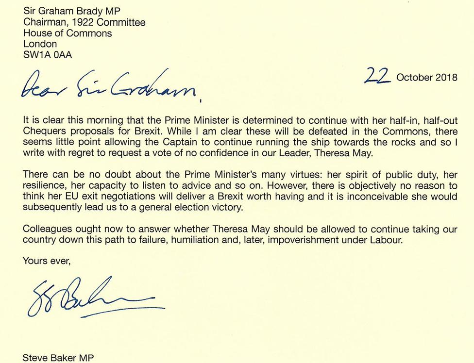 Letter from Steve Baker MP to Sir Graham Brady