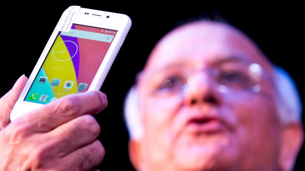 A prototype of the Freedom 251 smartphone