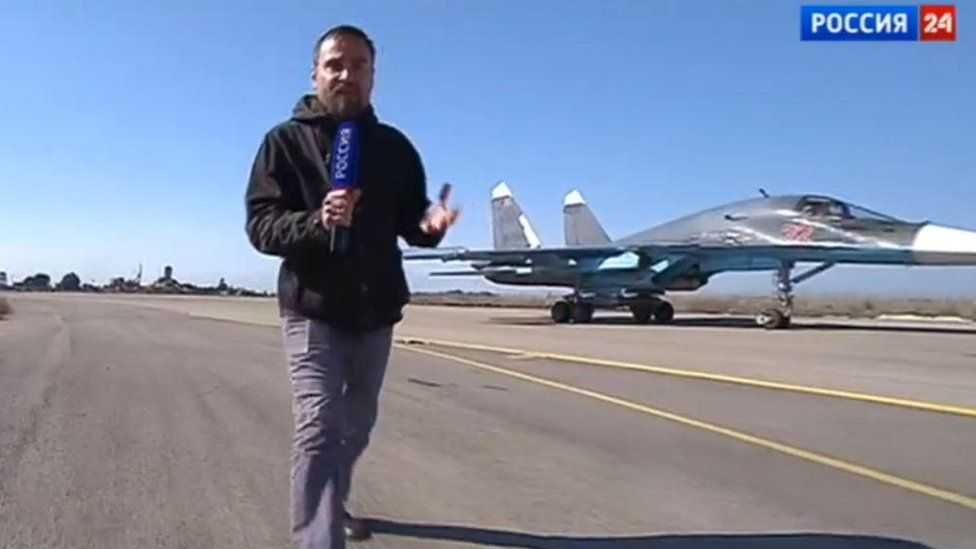 State-controlled Rossiya TV reports on the Russia aerial campaign in Syria.