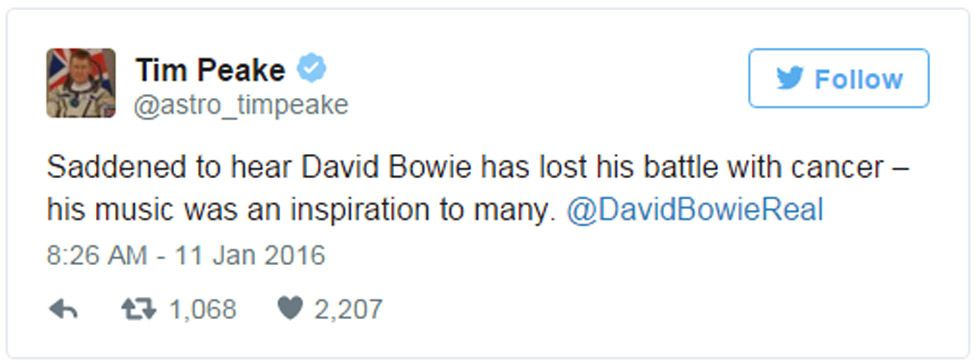 Tim Peake tweet: Saddened to hear David Bowie has lost his battle with cancer - his music was an inspiration to many. @DavidBowieReal