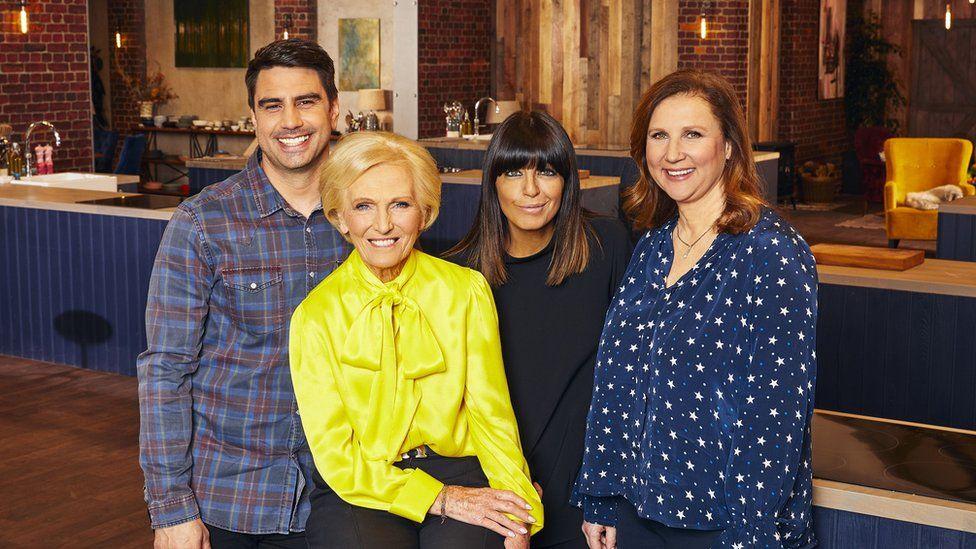 Judges Chris Bavin, Mary Berry, Angela Hartnett and presenter Claudia Winkleman.