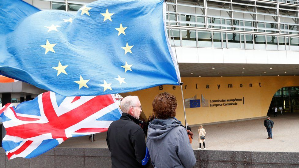 Brexit protesters outside the EU Commission HQ