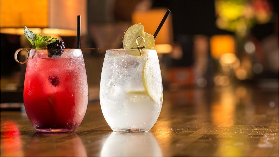 A pair of cocktails