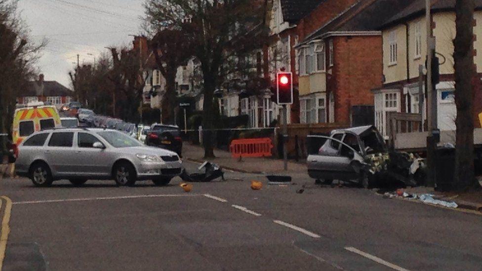 Crash scene in Leicester