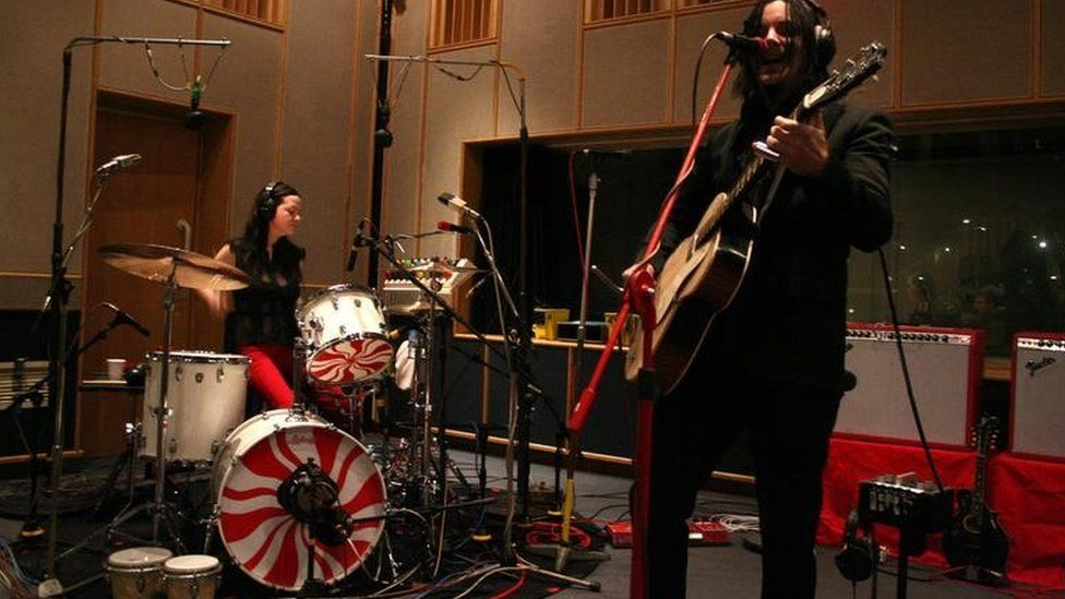 Meg and Jack White perform in Radio 1's Live Lounge at the BBC's Maida Vale studios in London