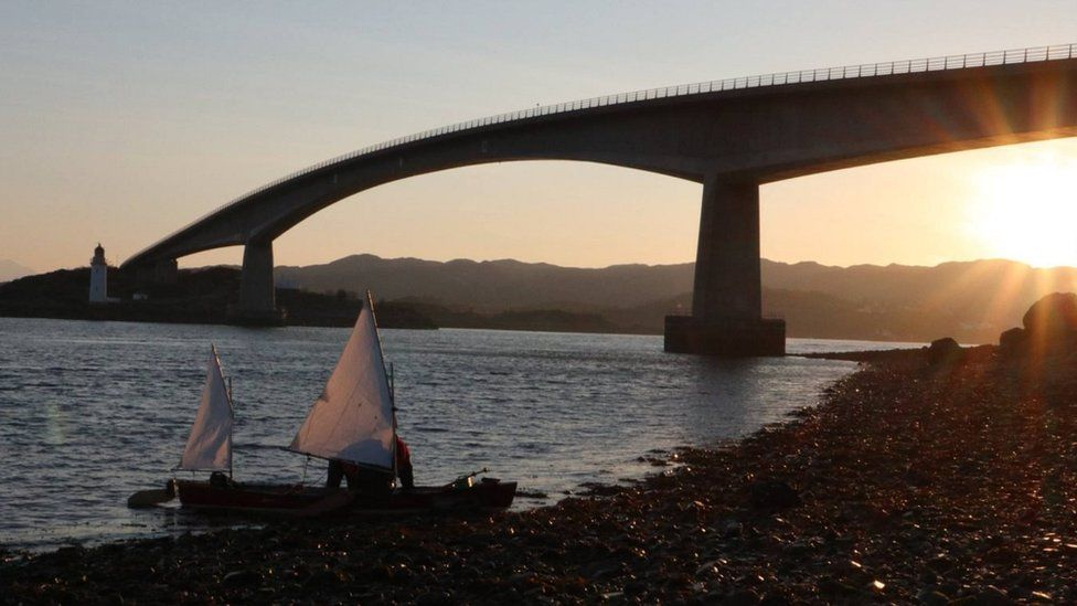 Open canoe near the Skye bridge