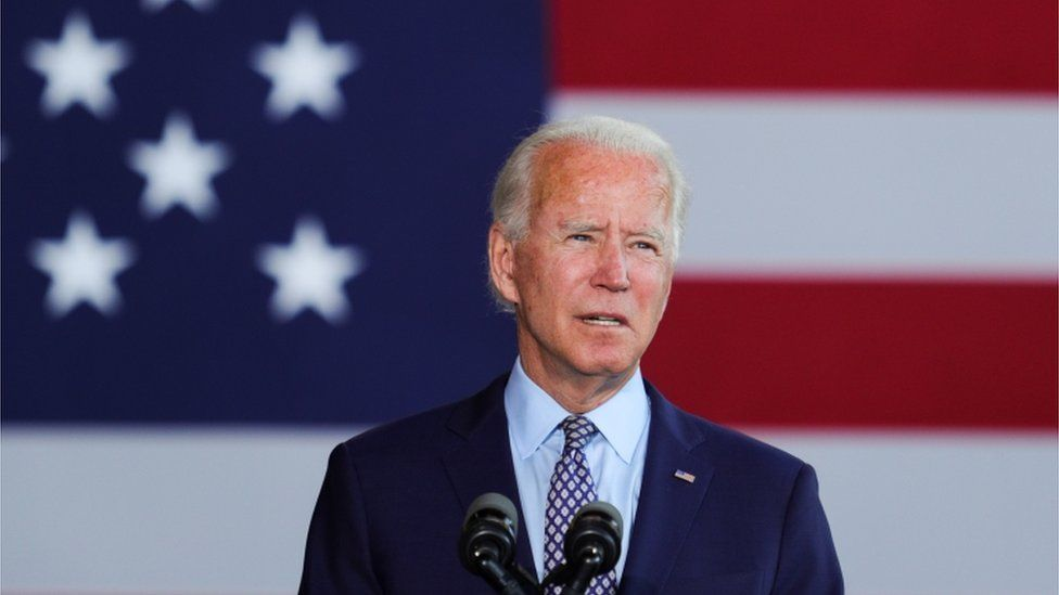 Democratic US presidential candidate Joe Biden speaks about the US economy during a campaign event