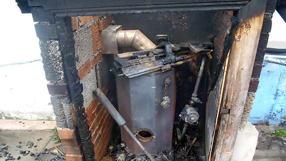 The guns and bullets were left in a hot boiler house
