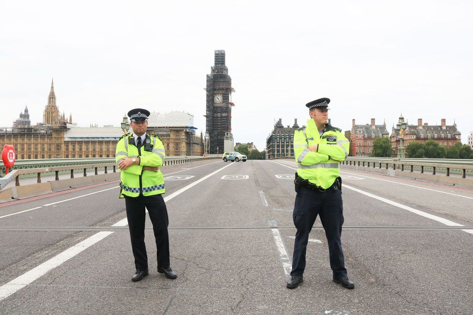 Westminster Bridge is cordoned off to traffic