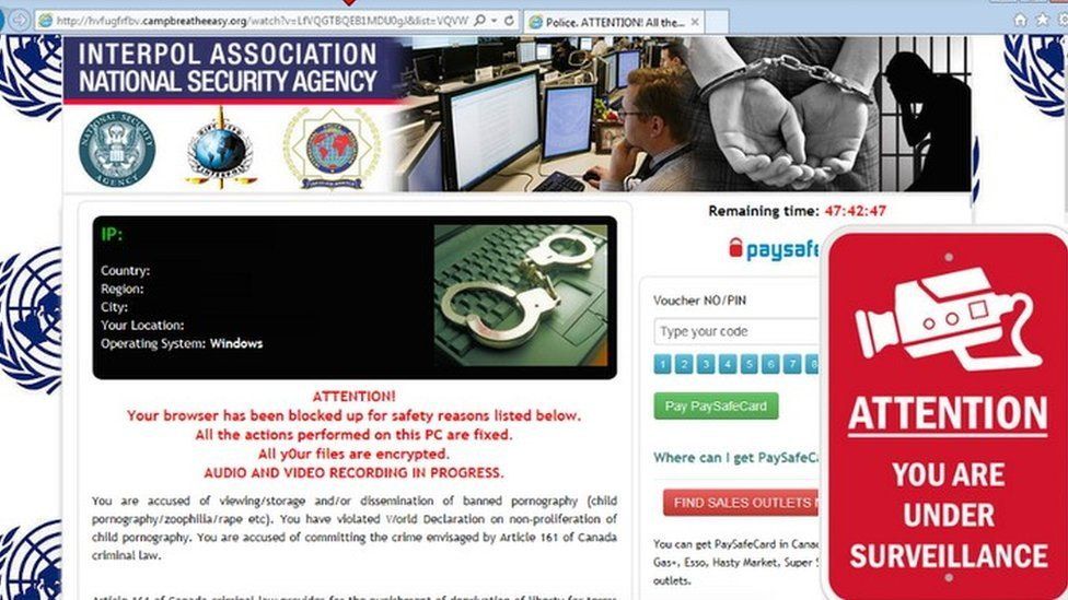 An example of a ransomware message