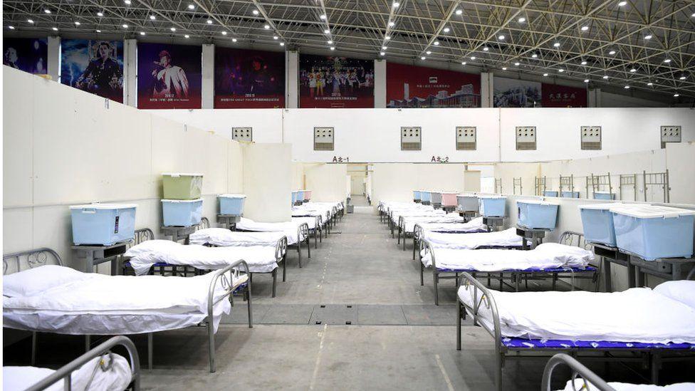 Temporary hospital facility in Wuhan, China