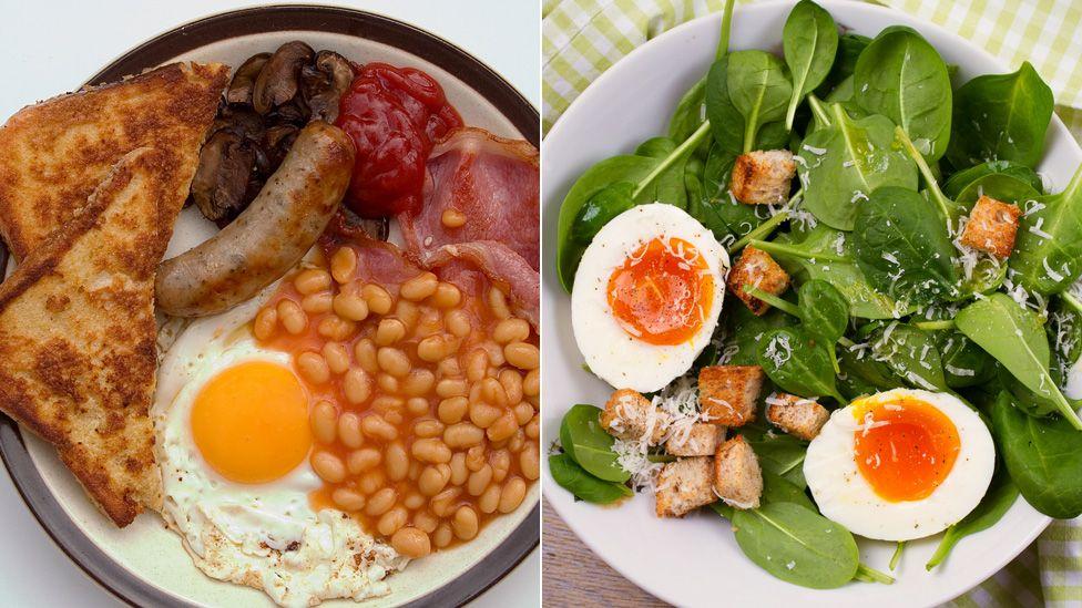 Fried breakfast vs egg-based salad