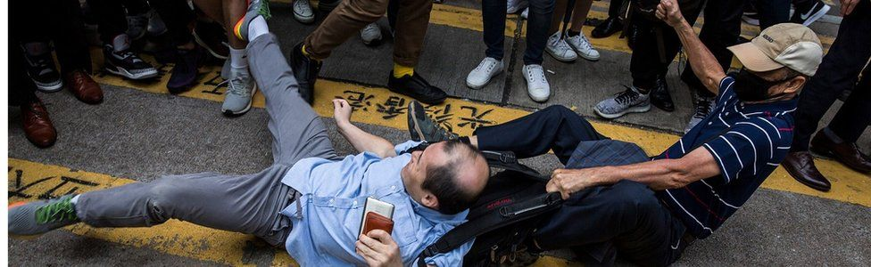 A HK argument on the streets during a protest on November 19
