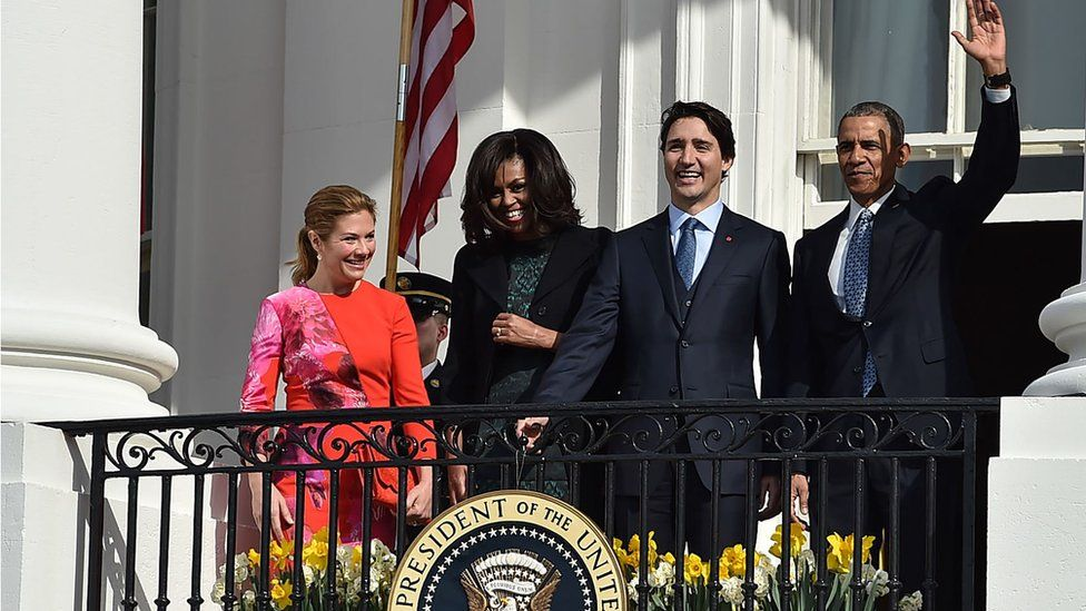 "US President Barack Obama and First Lady Michelle Obama welcome Canada""s Prime Minister Justin Trudeau and Canadian First Lady Sophie Gregoire-Trudeau (L) as they take part in a welcome ceremony during a State Visit on the South Lawn of the White House on March 10, 2016 in Washington, DC. /"