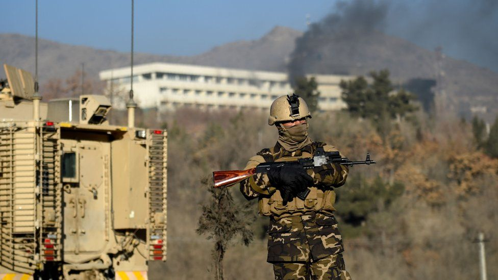 Afghan security forces keeps watch near the Intercontinental Hotel following an attack in Kabul on January 21, 2018.