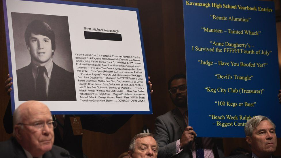 "Extracts of Supreme Court nominee Brett Kavanaugh""s high school yearbook are displayed as he testifies before the US Senate Judiciary Committee on Capitol Hill in Washington, DC"