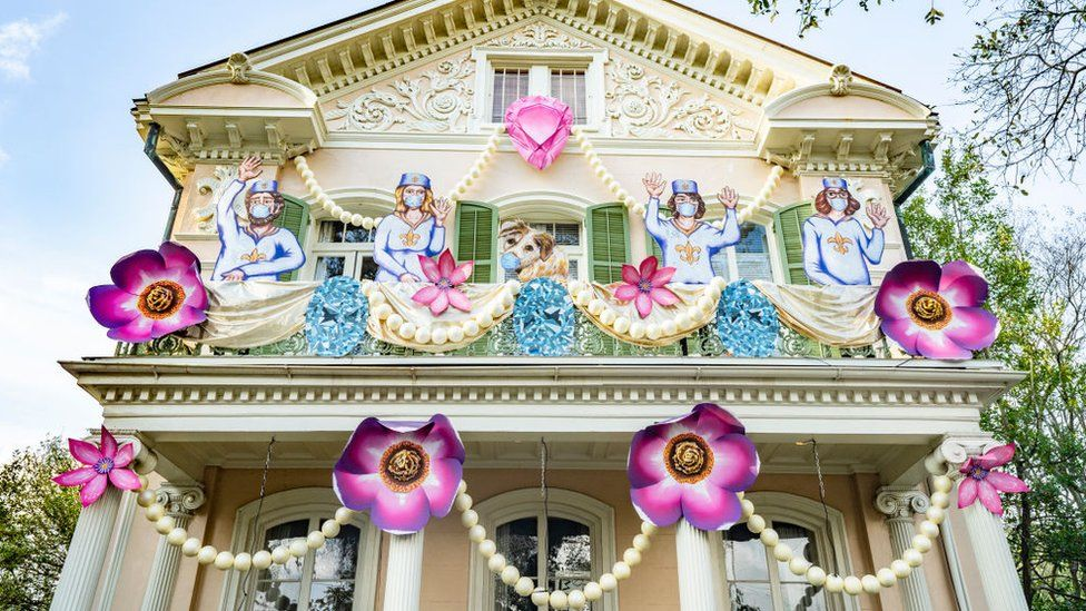 View of The Queen's Jubilee House, whose decorations are sponsored by Krewe of Red Beans, on January 24, 2021 in New Orleans, Louisiana