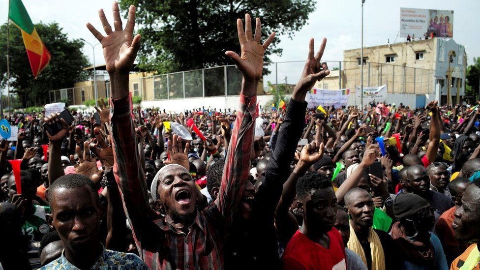 Supporters of Imam Mahmoud Dicko and other opposition political parties protest after President Ibrahim Boubacar Keita rejected concessions, aimed at resolving a months-long political stand-off, in Bamako, Mali July 10, 2020