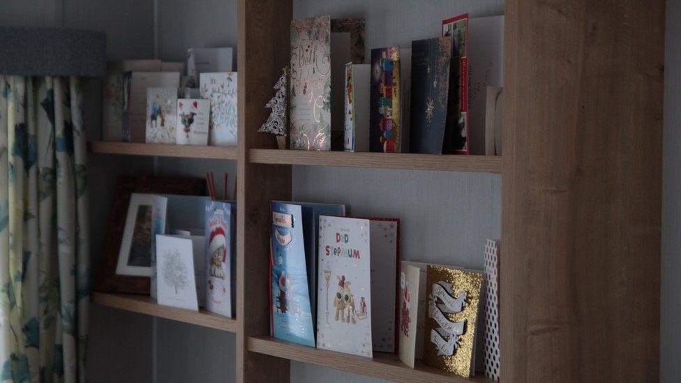 Christmas cards in a static caravan