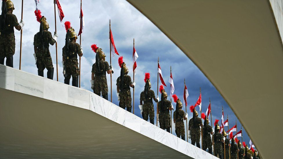 Ceremonial guards rehearse for the inauguration ceremony of Brazilian president-elect Jair Bolsonaro in Brasilia, 30 December 2018