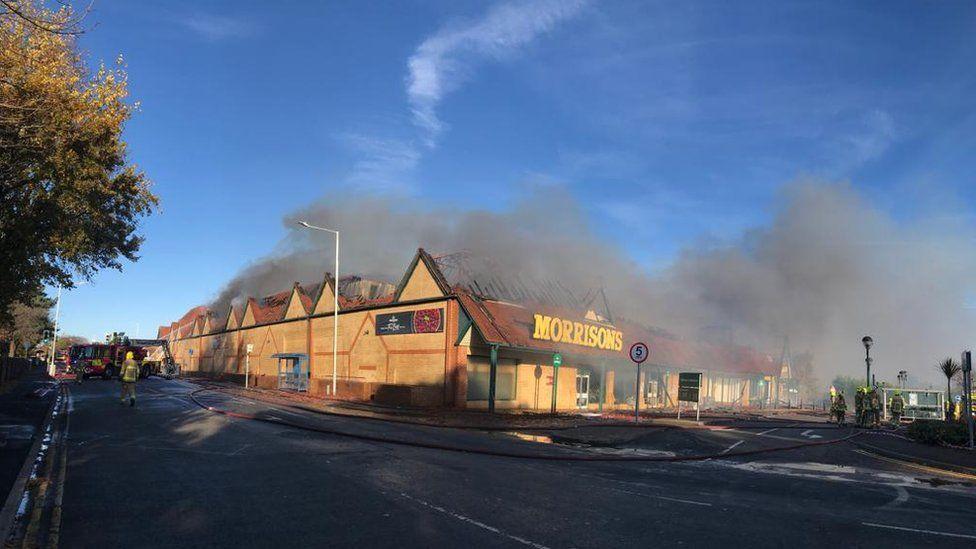 Burning supermarket