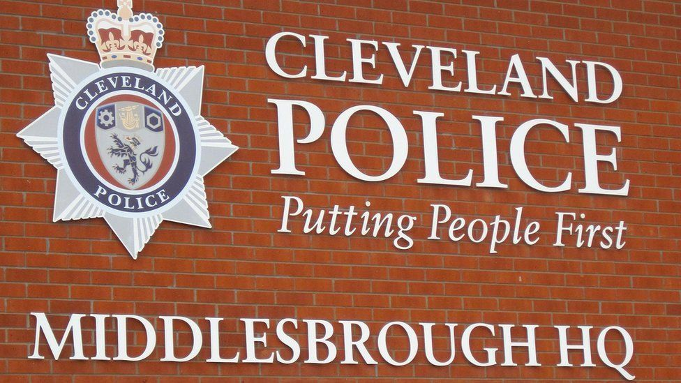 Cleveland Police logo at the Middlesbrough headquarters