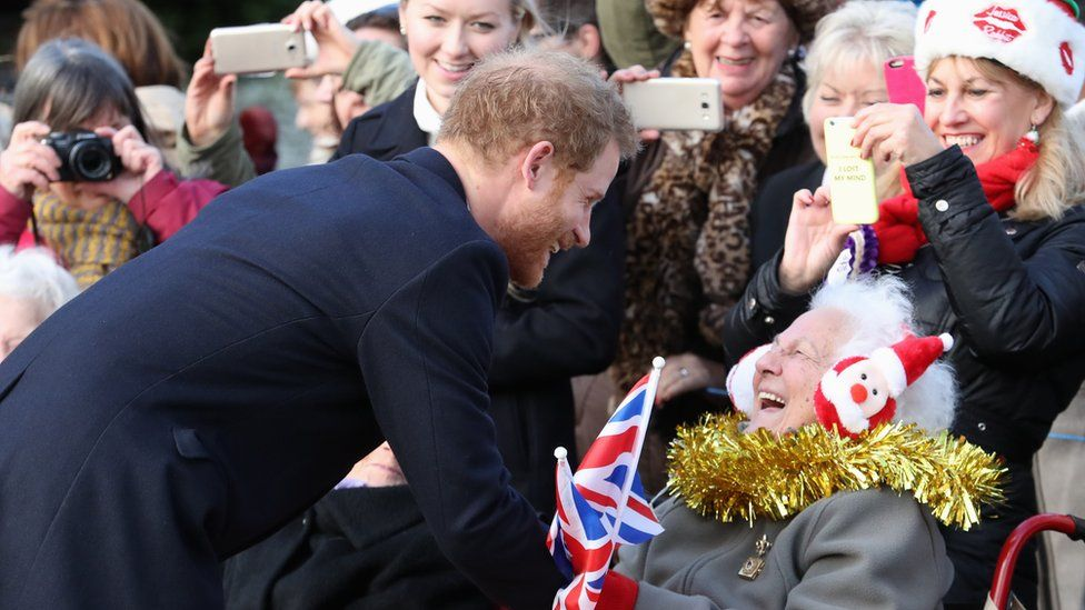 Prince Harry with well-wishers at Sandringham in 2016