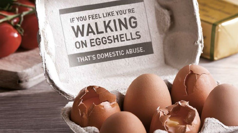 The message of the PSNI's domestic abuse Christmas campaign: 'If you feel like you're walking on eggshells, that's domestic abuse'.