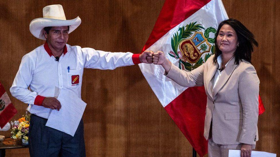 Peruvian rival presidential candidates Pedro Castillo and Keiko Fujimori