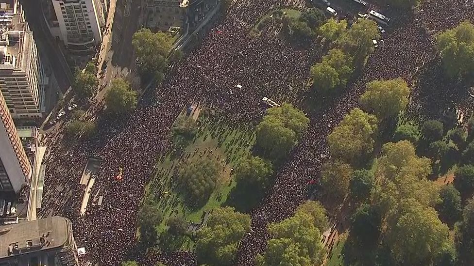Aerial shot of the People's Vote march in central London