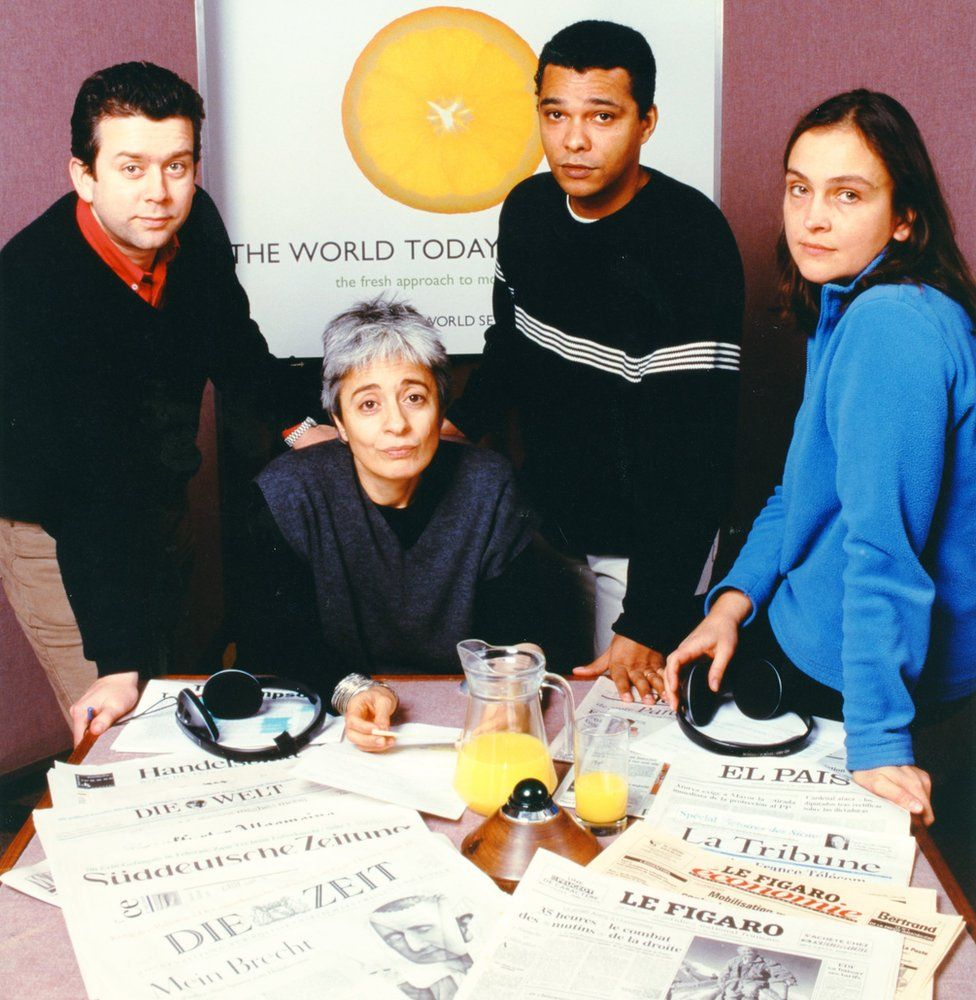 Julian Keane, third from left, with colleagues on The World Today in 1998