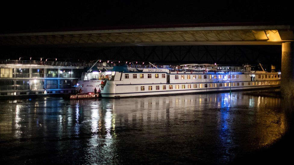 The Swiss Crystal passenger ship was damaged after it hit the pillar of a motorway bridge on the Rhine River near Duisburg, Germany, 26 December 2017